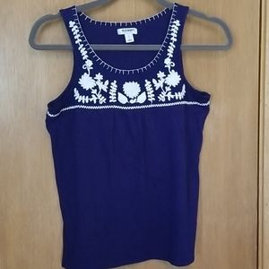 Old Navy Blue Embroidered Tank Top sz sm